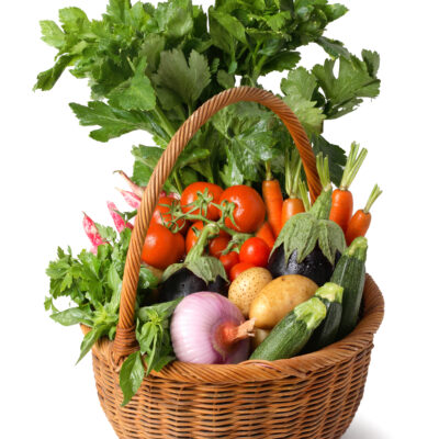 """Basket,Of,Vegetables,From,Italy,€"""",Isolated,On,White,Background"""